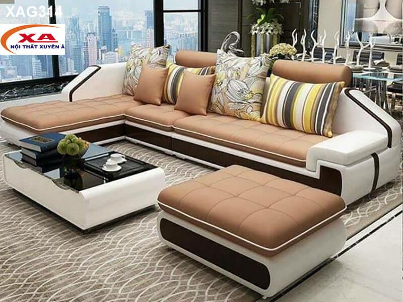Sofa da đẹp XAG314 tại Nội thất Xuyên Á