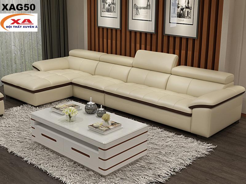Sofa da phòng khách XAG250 tại Sofa Xuyên Á